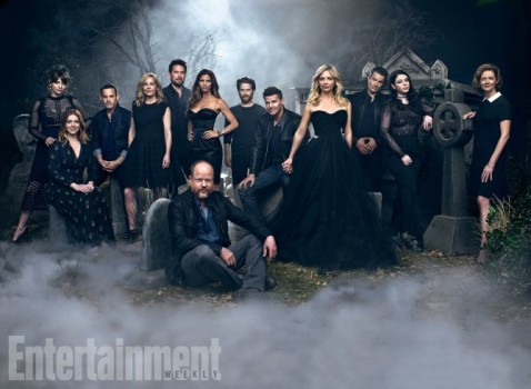 Buffy The Vampire Cast Reunion Shoot (2017)  Actors from left to right, Amber Benson, Alyson Hannigan, Nicholas Brendon, Emma Caulfield, Alexis Denisof, Charisma Carpenter, Seth Green, David Boreanaz, Sarah Michelle Gellar, James Marsters, Michelle Tracthenberg and Kristine Sutherland, with creator Joss Whedon in the foreground of Buffy The Vampire Slayer photographed exclusively for Entertainment Weekly by James White on March 7th, 2017 in Los Angeles.  Styling: Annie Jagger/The Only Agency; Boreanaz's Styling: Rob Bolger; Prop Stylist: Andy Henbest/Art Department; Production: Allison Elioff/Sunny 16 Productions; Benson's Hair: Toni Chavez/The Only Agency; Makeup: Adrienne Herbert/Art Department; Dress: Self Portrait; Shoes: Saint Laurent; Jewelry Erickson Beamon; Hannigan's, Denisof's Hair: Stephen Sollitto/TMG-LA; Makeup/Grooming: Marcus Francis/Starworks Artists; Hannigan's Dress: ALC; Shoes: Saint Laurent; Denisof's Shirt: Dolce and Gabbana; Blazer: John Varvatos; Boots: Ralph Lauren; Brendon's, Whedon's Grooming: Erika Parsons/Art Department; Brendon's Jacket:G Star; Shirt: John Varvatos; Jeans: G Star; Boots: Frye; Whedon's Jacket: John Varvatos