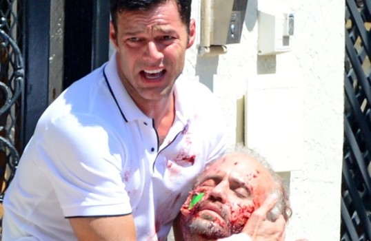"""** RIGHTS: ONLY UNITED STATES, BRAZIL, CANADA ** Miami, FL  - Actors Ricky Martin and Edgar Ramirez film a bloody scene for the TV series """"Versace: American Crime Story"""" in Miami. During the scene Ricky discovers that Gianni Versace (played by Ramirez) has been shot in front of his house  Pictured: Ricky Martin, Edgar Ramirez  BACKGRID USA 10 MAY 2017  USA: +1 310 798 9111 / usasales@backgrid.com  UK: +44 208 344 2007 / uksales@backgrid.com  *UK Clients - Pictures Containing Children Please Pixelate Face Prior To Publication*"""