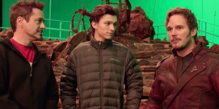Robert-Downey-Jr-Tom-Holland-and-Chris-Pratt-on-Avengers-Infinity-War-set