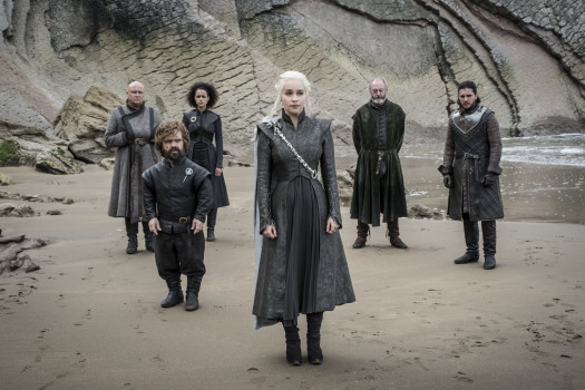 "Game Of Thrones, Series 07 Episode 04 ""The Spoils Of War"", Starring Conleth Hill as Varys w/ Peter Dinklage as Tyrion Lannister / Nathalie Emmanuel as Missandei / Emilia Clarke as Daenerys Targaryen / Liam Cunningham as Davos Seaworth and Kit Harington as Jon Snow, © HBO."